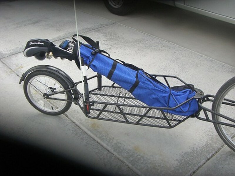 Bicycle Trailer and golf clubs