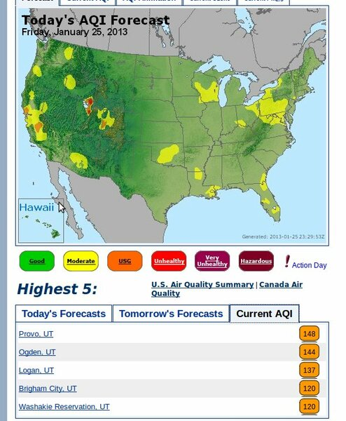 US Current air quality January 25, 2013